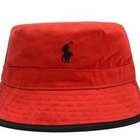 Polo Ralph Lauren Full Leather Bucket Hats Red