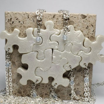 Bridesmaids Beach Wedding Puzzle Pieces 7 Necklaces Starfish Polymer Clay Set  Made To Order