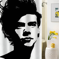 harry styles one direction  silhouette shower curtain special custom shower curtains that will make your bathroom adorable