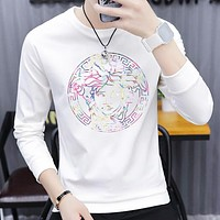Versace Fashion New Diamond Human Head Men Long Sleeve Top Sweater White