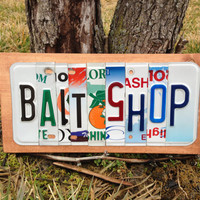 BAIT SHOP Custom Recycled LICENSE Plate Art Sign