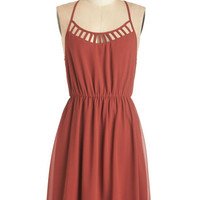 ModCloth Mid-length Racerback A-line On Your Lunch Break Dress in Vermillion