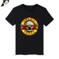 LUCKYFRIDAYF Guns N Roses Rock Band Short Sleeve T-shirt Men Hip Hop TShirts with Punk Music T Shirts for Men in White Tee Shirt