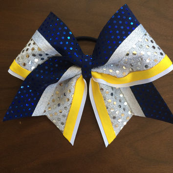 Navy, Yellow and Silver Cheer Bow!! This Bow can be made in any color combo you need, Just conov me for details!