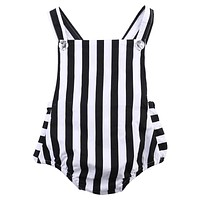 Cotton born Baby Girl Striped Sleeveless Romper Backless Jumpsuit Outfits