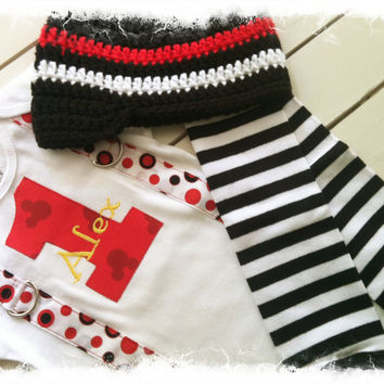 BOYS 1ST BIRTHDAY Mickey Mouse Outfit with Name, Crochet Beanie and Striped Crawlers-Cake Smash Outfit
