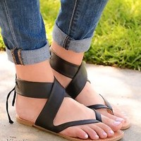 Women's sandals flat gladiator strappy lace up back open toe design sandal