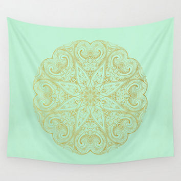 Mint Wall Tapestry Mandala Gold Green Seafoam Pastel  Boho Bohemian India Indian Dorm Room Home Decor