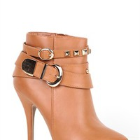 Platform Bootie with Gold Studded Strap
