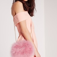 Missguided - Feather Clutch Bag Pink