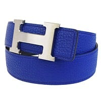 Auth HERMES Constance H Buckle Reversible Belt Leather Silver Blue #75 32BC468