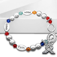 Cancer Awareness Ribbon Bracelet-Hope, Faith, Love