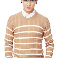 Striped Cable Knit Slim Fit Man Sweater