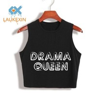 DRAMA QUEEN Letters Printed 100% Cotton Loose Crop Top harajuku 2017 Summer Fashion Crop Tops Womens Sexy Tumblr Cropped Cloth