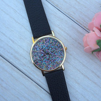 Glitter watch, fashion watch, wristwatch, colorful watch, bff gift, perfect gift, pink watch, black watch. trendy watch, girly watch,