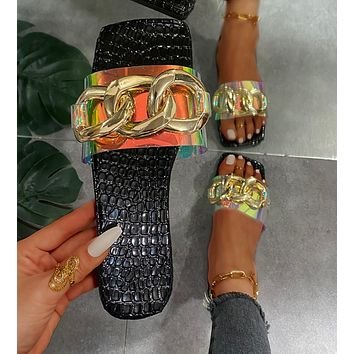 New style metal chain sandals and slippers