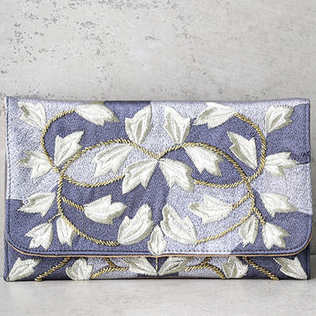 Foliage of Decadence Grey Embroidered Clutch