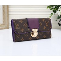 Louis Vuitton LV Newest Popular Women Leather Print Wallet Purse Purple