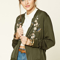 Floral Embroidered Satin Jacket