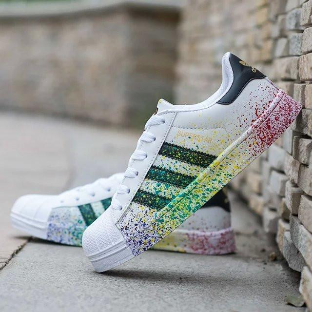 """Image of """"Adidas"""" Fashion Multicolor Shell-toe Flats Sneakers Sport Shoes"""