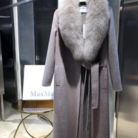 Top Gift MAX MARA Warm Fashion Style Cashmere Coat Fashion Slim Fur Thick Warm Jackets For FemaleCoat Suit jacket