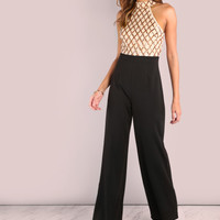 Sequin Diamond Tailored Wide Leg Jumpsuit -SheIn(Sheinside)
