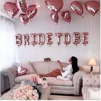 Rose Gold Bride To Be Letter Balloons