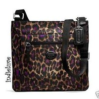 COACH OCELOT LEOPARD ANIMAL PRINT FILE BAG CROSSBODY - F77479 VIOLET NWT