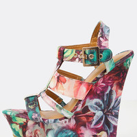Floral Strappy Wedges BLUSH MULTI | MakeMeChic.COM