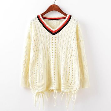 Pullover Knit Tops Women's Fashion V-neck Tassels Hollow Out Sweater [9101519815]