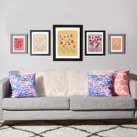 Joy Laforme Pansies in Pink and Chartreuse Gallery Wall Set