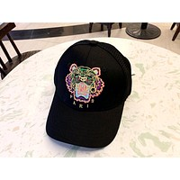Kenzo Tide brand tiger head color label embroidery mesh hollow couple couple baseball cap cap Black