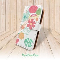 Flower wallet flip cover, monogram custom personalized case for iPhone 6 5 5S 5C 4 4S, for moto X, samsung galaxy S5 S4 S3 Note 3 4 (A57)