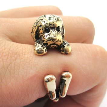 Realistic Toy Poodle Puppy Dog Shaped Animal Wrap Around Ring in Shiny Gold   US Sizes 4 to 8.5