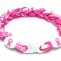 Triple Titanium Bracelet (Breast Cancer Awareness) - $7.50 : Titanium Necklace Shop - Titanium Sports Baseball Necklaces