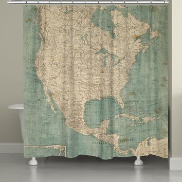 North America Map Shower Curtain