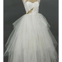 50s White Tulle Vintage Wedding Dress-1950s Vintage Ball Gowns