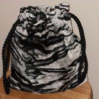 "Hand crafted black and white tiger animal print velour 13"" X 12"" drawstring hand bag"