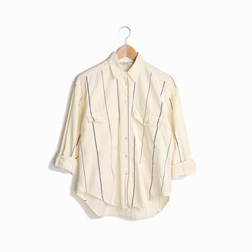 Vintage 80s Pinstriped Boyfriend Shirt in Eggshell & Navy - women's small