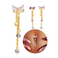 oaiite Medical Steel Bowknot CZ Navel Bar Gold / Silver Plated Dangle Piercing reverse belly button ring Sexy body jewelry C0008