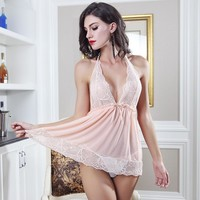 On Sale Sexy Hot Deal Cute Luxury Sleepwear Dress Set Lace See Through Exotic Lingerie [6596189507]