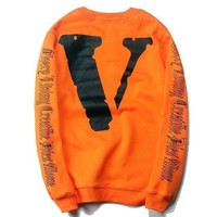 Off White X Vlone Trending Women Men Casual Long Sleeve Print Top Sweater Pullover I