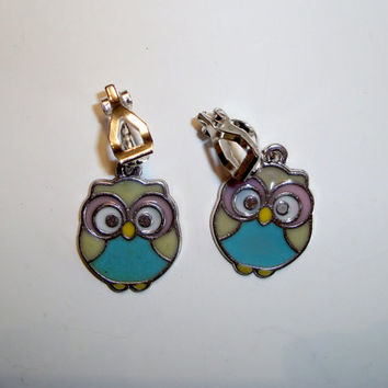 Blue and Pink Owl Clip On Earrings OR Pierced Ear Wires - Cute Little Owls in Blue and Pink - Earrings - Handmade - Clip ons