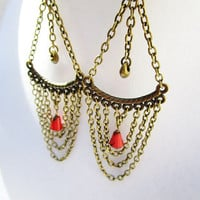 Long Draping Bronze Chain & Dark Pink Picasso Czech Glass Drop Boho Style Chandelier Earrings