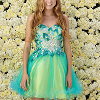 G2035 Two Toned Beaded Homecoming Cocktail Dress