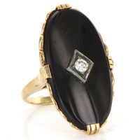 Vintage 10 Karat Yellow Gold Diamond Onyx Large Oval Cocktail Ring Estate Jewelry
