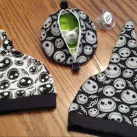Jack Skellington Baby Beanie Hats Pacifier Pods READY 2 SHiP! FuN LiTTLE Nightmare Baby Gifts Adorable Boutique Unique Designs by Sugarbear