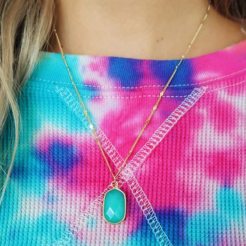 About Time Necklace: Gold/Turquoise