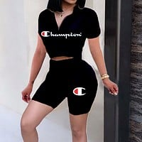 Champion Summer Trending Women Casual Print Shorts Sleeve Top Shorts Set Two Piece Sportswear Black