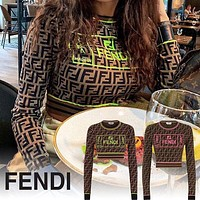 FENDI Women Fashion Long Sleeve Embroidery Top Pullover-3